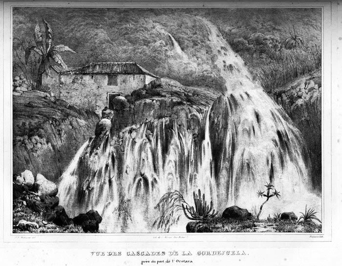 An early 19th century sketch of the Cascades of Gordejuela clearly demonstrates their awesome power.